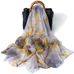 2020 womens Gorgeous 100% Silk scarf Shawl SCARF lady flowers printed high quality scarves Scarf 18 colors