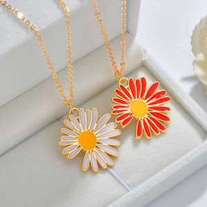 2020 New Fashion Creativity Design Eco-Friendly Material Jewelry White Red Enamel Sunflower Pendant Necklace for Sale