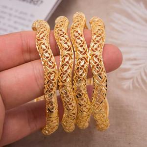 Annayoyo Mode Dame Luxuxgold Farbe Schmuck-Armbänder Ethiopian Afrikanische Frauen Dubai-Armband-Partei-Hochzeit Geschenke Can öffnen