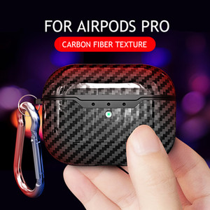 Carbon Fiber Print TPU Case Earphones for Apple Airpods 1 2 Bluetooth Wireless Earphone Protective Case for Airpods Pro Cover Box with Hook