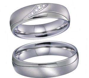 Alliances Love Marriage Couple Wedding Rings Set for Men and Women Silver Color Titanium Stainless Steel Jewelry No11