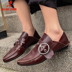 ALLENLYNN Yeni Lady 2020 Moda Dekorasyon Ayakkabı Kadın Kalite Tüm Gerçek Deri Flats Kadınlar Tasarım Sivri Burun loafer'lar pqDq #