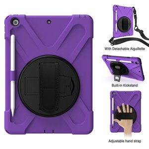 For Ipad 8th 7th Generation 10.2 Inch 2020 2019 360 Degree Rotating Kickstand Shockproof Protective Tablet Case With Pencil Holder And Strap