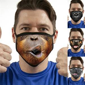 Animal 3D Expression Máscara Facial Lobo engraçado Ape Dog Boca Imprimir Máscaras Moda lavável reutilizável Facemask Unise dos desenhos animados cobrir a boca D81405