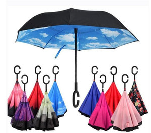 C-Hand Reverse Umbrellas Windproof Reverse Double Layer Inverted Umbrella Inside Out Stand Windproof Umbrella Car Inverted Umbrellas OWB1146