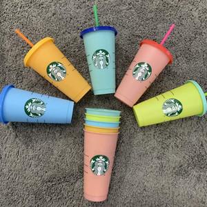 24oz Farbe ändern Tumblers Kunststoff trinken Saft-Schale mit Lippen- und Stroh Magie Kaffeetasse Costom Starbucks Farbwechsel Plastikbecher