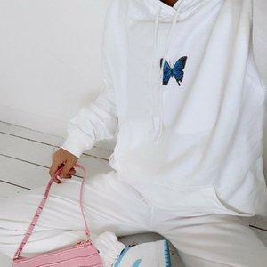 Kadınlar Hoodie Moda Kelebek Nakış Desen Casual O-Yaka Uzun Kollu Doğal Renk Kapüşonlular Kadınlar Giyim eşofmanı
