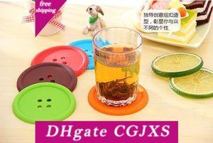 Pulsante in silicone colorato Cup Holder Cuscino bevanda da tavola Coaster Mat Pad Free Shipping