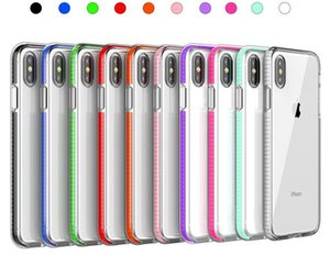 DHL 2IN1 اللونين فاخرة هاتف شفاف لحالة فون X 8 7 7 زائد 6 زائد 6S غطاء ضد الصدمات واضح لينة سيليكون القضية للحصول على 12