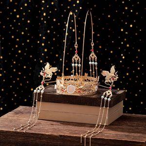 FORSEVEN Lüks İnci Uzun Püskül Tiaras ve Kron Tokalar Saç Çatallar Çin Düğün Hanfu Elbise Defilesi Saç Takı