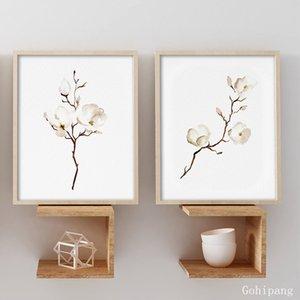 Blanc Beige Brown Magnolias Toile Peinture murale Art floral botanique Affiche d'impression Nursery murale décorative Photos Unframed