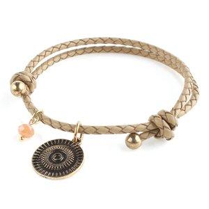 Pulseiras de cerâmica couro corda pulseira Bohemian macias para aço inoxidável Mulheres Nacionalidade Bracelet Jóias