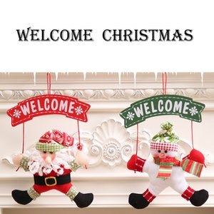 Decoraciones de Navidad muñeco de nieve de Santa Bienvenido cuelga del pórtico figuras de dibujos animados puerta de caída de la Navidad corona de Fextive Inicio nave de la gota decoración