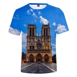 Paris T-shirts Mode Hommes Femmes Imprimé O-cou 3D T-shirts manches courtes Tops 2019 Nouveau Notre-Dame de l'été