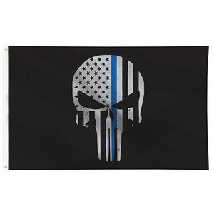 First Responder Police Thin Blue Line Skull Bone Flag 3x5 FT Banner 90x150cm Festival Party Gift 100D Polyester Printed Hot