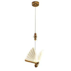 Vivendo Forma quarto cabeceira da borboleta LED pequeno pingente Nordic Light Creative Hotel Staircase Art Ferro Hanging Lamp Com 8 Heads
