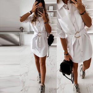 Dabourfeel Bureau Ceinture de travail droite Casual Dr Turn Down Col moitié Poète manches d'été Dr 2020 Mini Fashion Shirt Dr