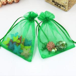5x7cm Grass Green Organza Bags Gift Bags Logo Small Drawstring Bag Organza Pouches Jewelry Pouches Bolsas De Organza 100pcs lot