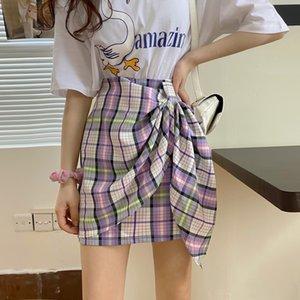 Plaid A LINE DRESS Schürze Schürze schrägen Spitzen-up hohe Taille A-Linie Kleid Allgleiches slim-fit Hüfte bedeckte Rock zomFF