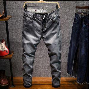 negocio ocasional otoño los pantalones vaqueros para hombre de la moda de los hombres delgados de los pantalones vaqueros rectos de alta elasticidad Pies mediados de la cintura de los pantalones largos de color gris oscuro