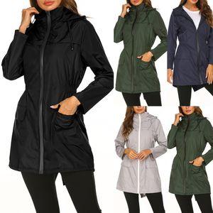 Foreign Trade New Quick-Drying Womens European and American Outdoor Casual Zip Waist Hugging Hooded Waterproof Windbreaker Jacket