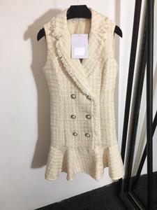 high-end mulheres meninas Cady colete de tweed magro camisa patchwork vestido simples sem mangas breasted uma linha saia milan vestidos de design de moda