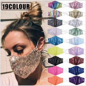 Bling Yüz 19 Colors Çift Katmanlı Yaz Nefes Güneş Maskeler Sequins Bisiklet Maske Bling Yıkanabilir Yüz Maskeleri CCA12413 120pcs Maske