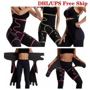 DHL Free Ship Waist Thigh Trimmers 3 in 1 Waist Trainer Butt Lifter and Hips Burn Fat Burner Leg Slimming Waist Trimmer FY8054
