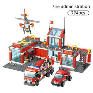 774/300 unids Ciudad Estación de bomberos Modelo Building Bloques Compatible Construcción Bombero Man Truco Iluminado Ladrillos Juguetes Niños