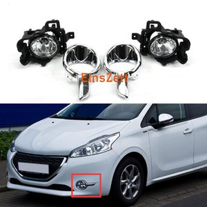 1set Car Fog Lamp Assembly Para Peugeot 208 2013 2016 Pára-choques frontal Bulb Light Day com tampa Chrome