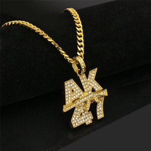 Colliers d'or pour hommes avec AK Tide Marque Zircon Collier en alliage Hip Hop Collier avec logo