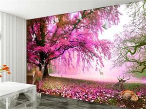 Custom 3D Mural Wallpaper Sika Deer, Fantasy, Cherry Tree Living Room TV Background Bound Wall Painting Wallpaper