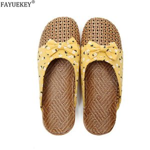 FAYUEKEY Summer Home Slippers For Women Linen Weaving Floral Flowers Casual Slides Flip Flops Ladies Flat Sandals Flax Slippers