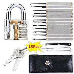 15pcs / Set de bloqueo de aptitudes conjunto claro Práctica candado Herramientas cerraduras de llaves Herramientas Kits abierto rápido bloqueo de Aprendizaje