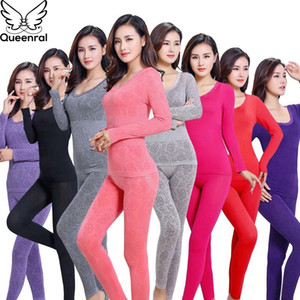Queenral Long Johns For Women Thermal Underwear Set For Winter Second Skin Winter Female Thermal Shirt Pajamas Winter thermal 200924