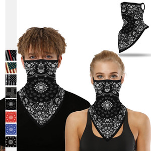 Multifuctional Outdoor Totem digital print outdoor sports neck scarf Dustproof Ear Loop Triangle Scarf Turban lxj170