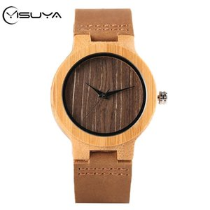 YISUYA Femmes Bois Montre Retro Simple Femme café Dial Bambou Horloge en bois en cuir véritable Best Lover 2020 Cadeaux reloj