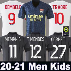 20 21 Лион футбол Джерси Дембеле 2020 2021 третий Olympique Lyonnais T.MENDES AOUAR ТРАОРЕ Men + Детский набор набор Лион Майо-де-футовый OL TOUSART