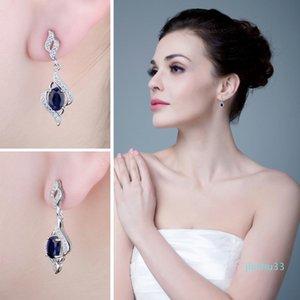 Hot Sale JPalace Created Blue Sapphire Drop Earrings 925 Sterling Silver Earrings For Women Gemstones Korean Earings Fashion Jewelry