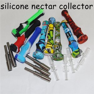 New 4.7 Inch Silicone Nectar Collector with 14mm Quartz Tips Keck Clip Silicone Container Reclaimer Nector Collector Kit for Smoking