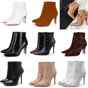 Luxe rouge en cuir noir avec des pointes orteils pointés Femmes Bottines Fashion Designer Sexy Ladies Red Bas de talons hauts pompes