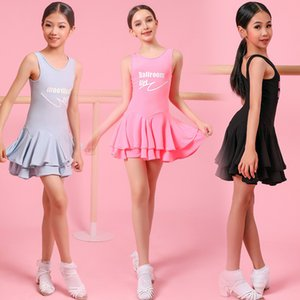 Latin Dance Dress Girls Fashion Letter Printed Sleeveless Dresses Tango Rumba Salsa Cha Cha Samba Practice Wear Kids DNV13209