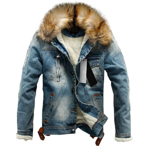 перевозка груза падения 2020 новых мужчин джинсы куртки и пальто денима густую теплую зиму Outwear S-4XL LBZ21