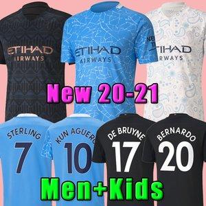 2020 2021 FC Manchester Fußball Jersey City 20 21 MESSI G. JESUS Mahrez DE BRUYNE Kun Agüero Fußballhemd MENDY MAN Uniformen Männer + Kinder-Kit