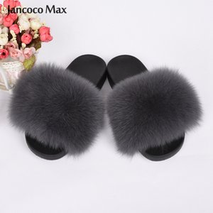 Real Fox Fur Slippers Summer Fur Slides Women Sliders Flip Flop Lady Outdoor Indoor Sandal Natural S6018C 200924