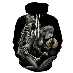 BIAOLUN Komik Kafatası Kapüşonlular 3D Kapüşonlular Erkekler Kadınlar Tişörtü Unisex Tracksuits Moda Günlük Streetwear Kapşonlu Marka Kazak CX200818