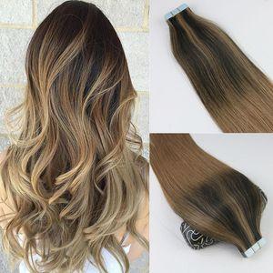100gram 40PCS الشريط في شعر إنساني إمتداد BALAYAGE أومبير اللون البني الشعر العذراء البرازيلي سلس PU الجلد اللحمة