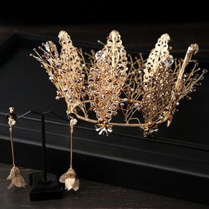 JaneVini barocco rotonda Corona nuziale e gli orecchini da sposa Corone sposa Diademi Handmade Vintage di lusso l'insieme dei monili d'oro Copricapo