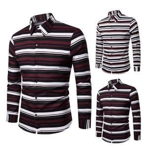 2020 Striped Slim Fit Business Male Social Dress Shirt Men's Casual Long Sleeve Checkered Dress Shirts