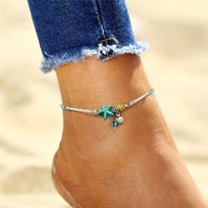 Perline d'acqua dolce sandali perline braccialetto del piede Donne cavigliere Cavigliere Boho Pearl estate fascino Barefoot caviglia Starfish Beach hat7890 D